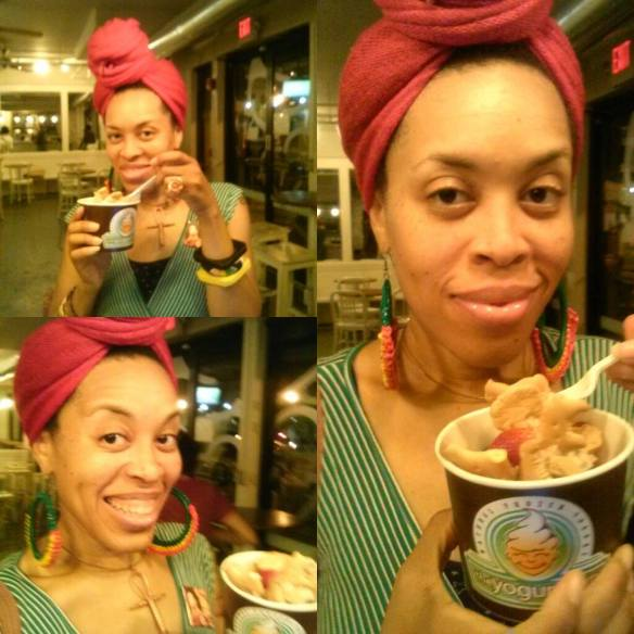 Enjoying this non dairy Almond Butter froyo  goodness at The Yogurt Tap.