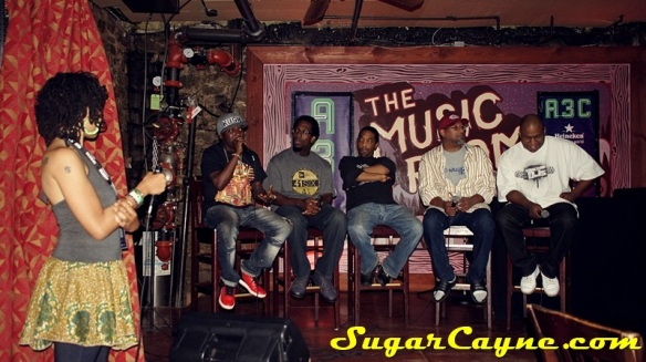 Panel discussion with (l-r) DJ Sol Messiah Marcel Daniels, Jasz, Talib Shabazz and Spearhead X