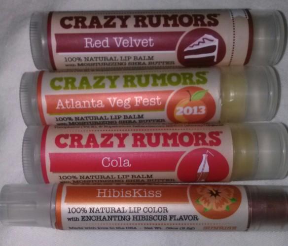 Crazy Rumors lip balms and tints